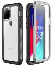 For iPhone 11 Pro Case Built-in Screen Protector Clear Full Body Heavy Duty