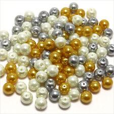 Lot Mix 100 perles Nacrées en verre 8mm Mélange de couleurs Or Argent Blanc