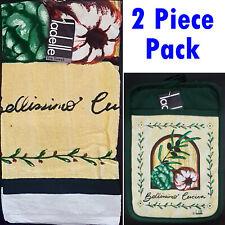 Ladelle Bellissimo Cotton Kitchen 2 Piece Pack. 1 x Tea Towels + 1 x Pot Holder