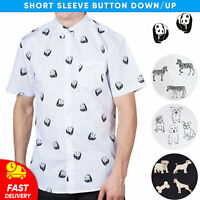 Mens Short Sleeve Novelty Animals Printed Button-Down Up Casual Shirt
