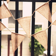 Fabric Bunting Vintage Shabby Chic Plain Hessian Burlap Flags Wedding Decoration