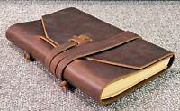 Genuine Leather Journal Notebook Handmade Premium Rustic Brown Leather Bound 7x5