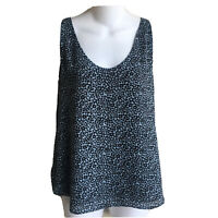 Ladies Small Ann Taylor Loft Blue Black Top Blouse Chiffon Sleeveless Lined