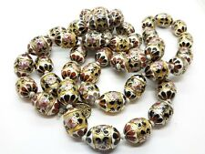 Vintage  Chinese Silver Cloisonne Enamel Egg Beads Necklace 37 inches