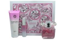 VERSACE BRIGHT CRYSTAL 3 PIECE GIFT SET FOR WOMEN EAU DE TOILETTE SPRAY 90ML NIB