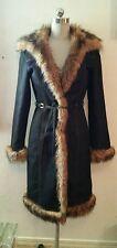 NEW BOHO Denim Faux Fur Long Belted Coat Jacket Leopard Lined Size 2 4 - XMAS!!!