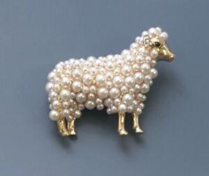 Vintage Style Sheep Brooch gold Tone Metal