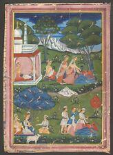 Antique Nepal Miniature Painting - Death of Putana - Krishna Indian Hindu 19th