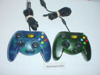 Pair of 2 MAD CATZ  CONTROLLERS GREEN / BLUE for Original MICROSOFT XBOX system