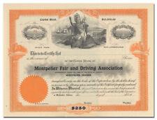 Montpelier Fair and Driving Association Stock Certificate