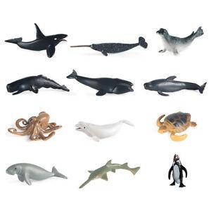 12PCS Ocean Sea Marine Animal Figures Model Bath Toys Shark Turtle Playset Gifts
