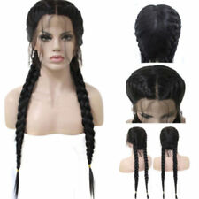 14 inches BRAIDED WOMEN High Quality LONG BLACK LACE FRONT Wig Free Wig Cap