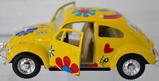 Flower Power Classic Volkswagen® Pull Back Die Cast 1:39 Yellow W/ Flower Design