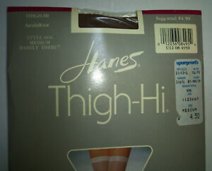 Hanes Thigh High Sandalfoot Stockings Size Medium Town Taupe or Barely There NOS