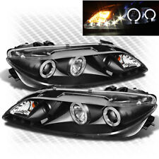 For 03-06 Mazda 6 Twin Halo DRL LED Pro Blk Headlights+Fog Lights Lamp Pair