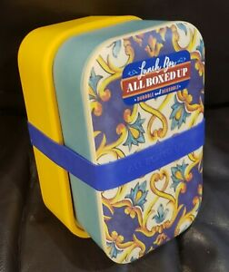 Eco One All Boxed Up Bento Lunch Box Food Storage Containers Teal Blue & Yellow
