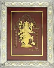 "Gold Leaf Picture in Frames Dancing Ganesh ji 12""x10"""