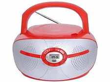 Trevi Portable Bluetooth Boombox With FM Radio CD Player and Aux-in Red