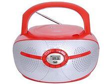 Trevi portátil Bluetooth Boombox con la Radio FM reproductor de CD y AUX-in Rojo