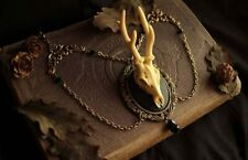 Vintage Deer Resin Pendant Necklace for Women - Gift for Witchy Wiccan jewelry