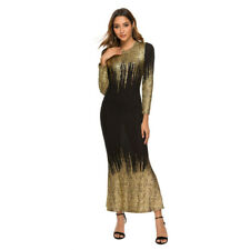 Womens Casual Bronzing Printed Dress Slim Long Sleeve Round Neck Dresses Party