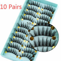 Hot 3D Mink False Eyelashes Wispy Cross Long Thick Soft Fake Eye Lashes 10 Pairs