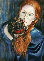 ORIGINAL Öl Gemälde oil Painting Female  pet dog Welpe Expressionism Aktzeichen
