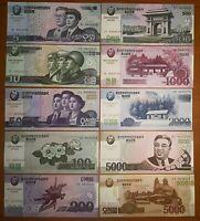 Korea 2002 2008 2013 5-5000 Won Kim II Sung 100th Anniversary Banknote Set of 10