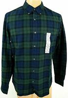 St Johns Bay Flannel Shirt Green Black Blue Plaid Slim Medium Pocket Button NWT
