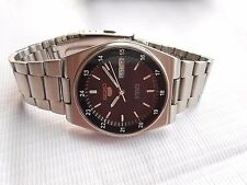 VTG RAILWAY TIME 24 HOURS FORMAT SEIKO 5 BLACK DIAL MENS AUTO WIND WATCH
