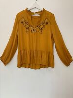 New York & Company Blouse Women Size S Peasant Sleeve Mustard Embroidery R1