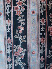 "Sewing Fabric Hoffman Calif Black Floral Stripe ""Woodblocks"" Pink Blue 1.7ydx45"""