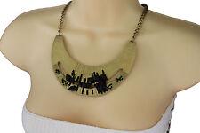 Women Gold Necklace Metal Bib Plate Black Stone Beads Fashion Jewelry + Earrings
