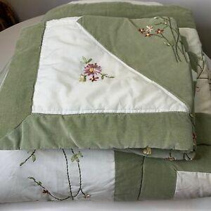 velvet comforter queen green white floral ribbon embroidery sham set 90x84