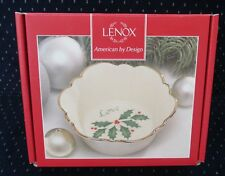 New in Box! Lenox Holiday Holly Round Fluted Dish Candy Bowl, Love