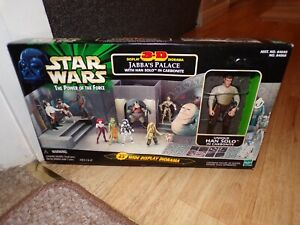 Star Wars POTF2 3-D Diorama Jabba's Palace & Han Solo Carbonite Set .