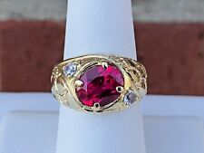 14K GOLD RUBY RED CUBIC ZIRCONIA MEN'S NUGGET RING SIZE 8