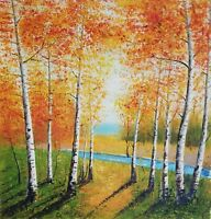 Zahra - Autumn Landscape Original Oil Painting on Canvas Hand Signed with COA.