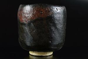 L1635: Japanese Old Raku-ware Black glaze TEA BOWL Green tea tool Tea Ceremony