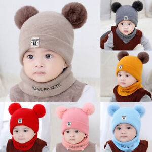 Toddler Kids Baby Boy Girls Winter Warm Pom Bobble Hat Knit Beanie Cap+Scarf Or