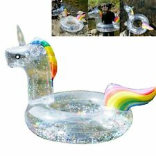 Sequin Unicorn Pool Float Inflatable Swimming Ring Kids Cystal Shiny Ring OD