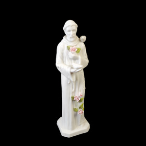 St Francis of Assisi Figurine by Roman FREE SHIPPING Feeding Birds Bisque