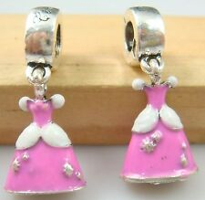 1pcs Belle princess skirt Pendant Alloy Bead Fit European Charm Bracelet lj4r