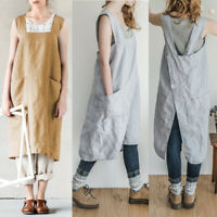 Women Plain Aprons With Pocket Chefs Butchers Craft Baking Kitchen Cooking Dress