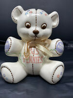 ADORABLE Vintage Hand Painted Ceramic Teddy Bear Coin Slot Bank Piggy Bank
