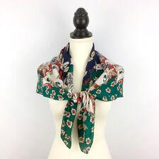 "GINNIE JOHANSEN vintage silk scarf - red green blue floral 34"" square calla lily"