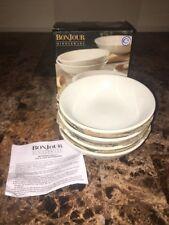 BONJOUR Dinnerware ~ PAISLEY VINE (4) Piece Fruit Bowl Set, In Box