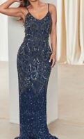 Sistaglam Flory Strappy Navy Beaded Maxi Dress Size 10 *REF61