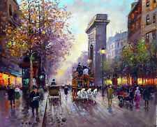 "Dream-art Oil painting Paris Street scene with Triumphal arch carriage 24""x36"""