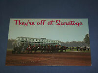 VINTAGE THEY'RE OFF AT SARATOGA RACE TRACK HORSE  NEW YORK   POSTCARD